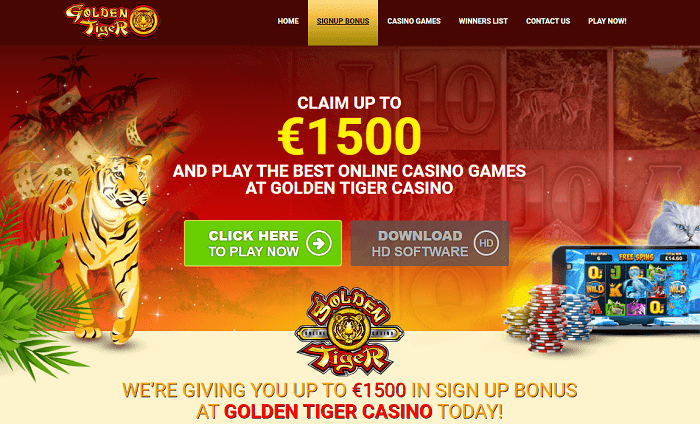 Golden Tiger casino : 5 huge Match Bonuses Screenshot